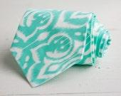 men's mint ikat necktie