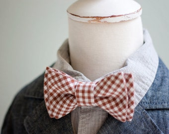 Bow Tie, Bow Ties, Boys Bow Ties, Baby Bow Ties, Bowties, Ring Bearer, Bow ties For Boys, Ties, Bowties, Baby Gift - Brown Gingham