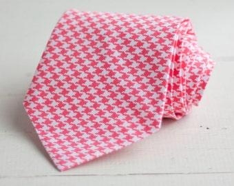Necktie, Men's Necktie, Necktie For Men, Ties For Men, Groomsmen Gifts, Gifts for Him, Groomsmen Ties, Neck Tie, Ties - Coral Houndstooth