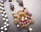 Crystal Pearl Necklace Vintage Upscaled Bridal Necklace Purple Crystal