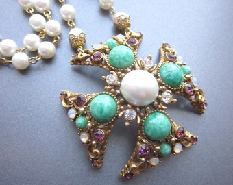 Maltese Cross Necklace Pearl Assemblage Statement Necklace Green Stones Purple Rhinestones