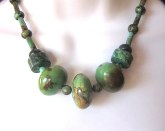 Natural Green Turquoise Beaded Necklace Genuine Chunky Turquoise Stone Jewelry