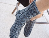 Cable knit socks dark grey tweed gift for her