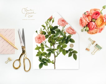 Pink Roses Envelope Liners DIY Printable Wedding Invitations and cards