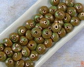 Green and Brown Ceramic Beads 60% off, qty 45