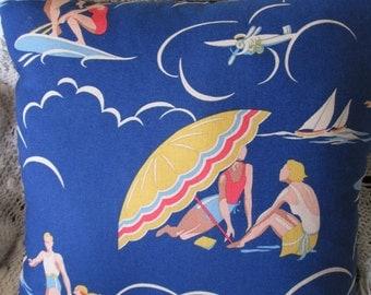 Handmade Decorative Pillow Vintage Style R. Lauren Beach Scenes