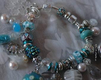 Christmas European Charm Bracelet , Winter Wonderland Christmas Charm Bracelet ,  Christmas Gift Bracelet