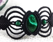 Malachite Beaded Macramé Cuff Bracelet