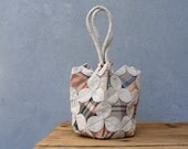 Plaids and Petals Bag - Window Quilting and Orinuno with Vintage Linen