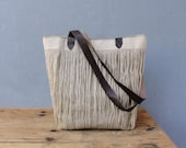Large Linen Leather Tote - Natural Tribal Bohemian