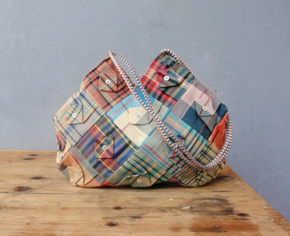 Folded Plaid Bag - Vintage Plaid Fabrics Patchwork