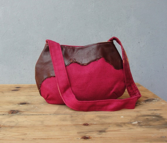 Leather and Linen Bag - Cherries and Chocolate