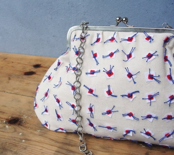 Americana Purse Bag - Embroidery White, Blue and Red - Snap Closure