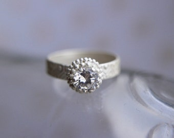 Sterling silver ring - Cubic zirconia ring, Engagement ring, Wedding band, Bridal, Sterling silver jewelry, Unique engagement ring, handmade