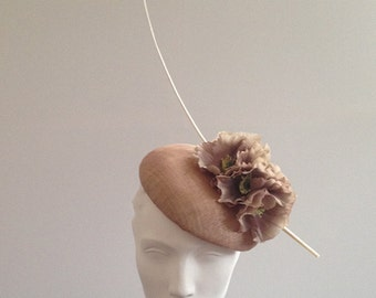 Waldorf - Almond/Nude Sinamay Beret with Poppies Great hat for Royal Ascot, Wedding guests & the Races can be made in other colours