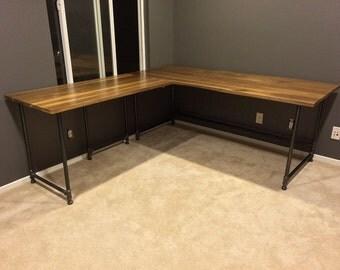 L shape Industrial desk walnut top