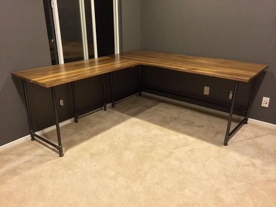items similar to l shape industrial desk walnut top on etsy. Black Bedroom Furniture Sets. Home Design Ideas
