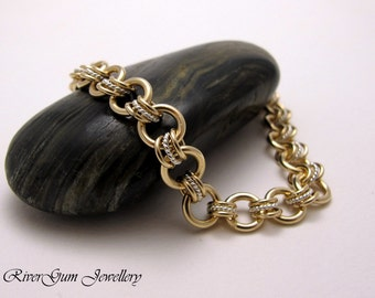 Bracelet, Gold & Sterling Silver Bracelet, Chainmail, Chainmaille