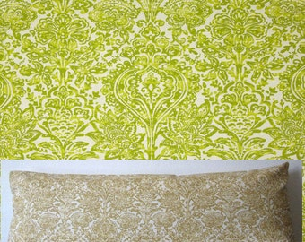 Green damask body pillow cover - 20x54 - green and white damask accent pillow cover