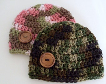 Camo Baby Hat, Baby Boy, Baby Girl, Hat with Button, Toddler Beanie, Choice of Camo or Pink Camo