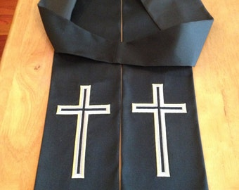 Clergy Stole - Black with Silver & Gold Cross