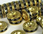 Rhinestone Rondell Bead 18 pcs 8mm Hemitite Gold Vintage B-34