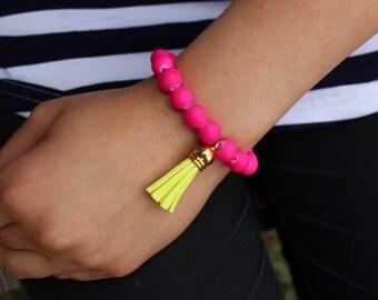 Neon PInk and Neon Yellow Tassel Stretch Bracelet