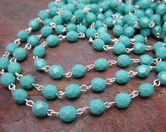 Beaded Rosary Faceted Turquoise 6mm Czech Glass Link Silver Chain