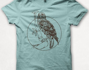 Womens Tshirt, Redtailed Hawk, Bird Shirt, Screenprint, Graphic Tee - Aqua