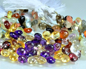 Sale -Multi Gemstone Heart Briolettes   AAA Briolettes  Micro Faceted 7-7.75mm  Full Strand