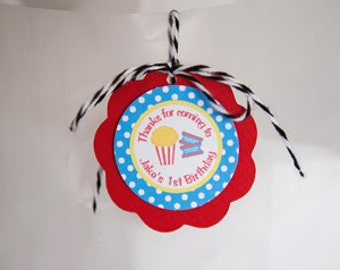 Popcorn Birthday Party FAVOR TAGS - Popcorn Party Decorations - Movie Night Decorations - Popcorn Decorations - Movie Night Favor Tags (12)