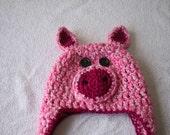 4T crochet little piggy hat children animal bulky winter toddler girls gift idea