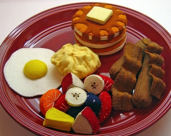 Pretend Play Food - Wool Felt Breakfast Set, Waldorf Inspired Play Kitchen Accessory for Children