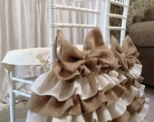 Burlap ruffled chair cover