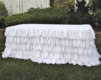 White Ruffled Lace Tablecloth