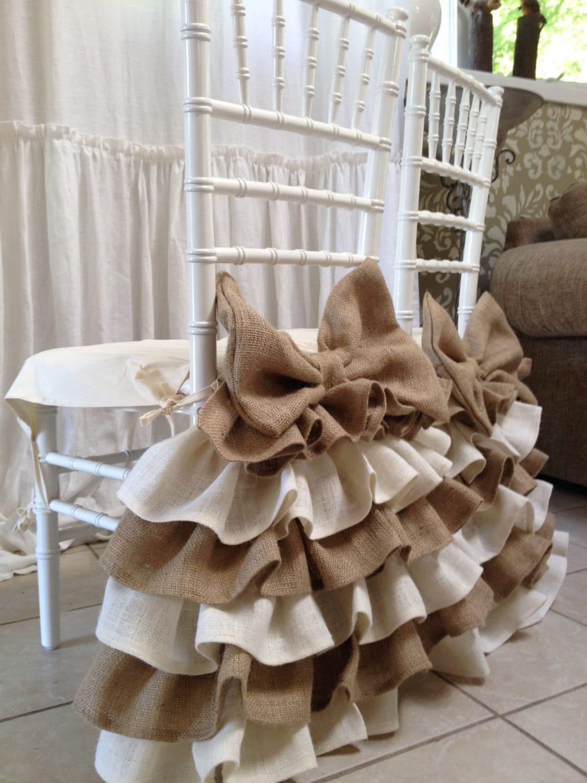 Burlap Ruffled Chair Cover