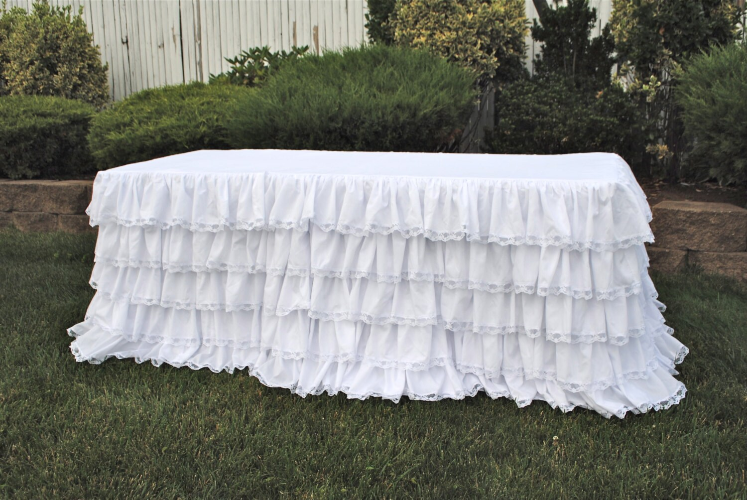 White Ruffled Lace Tablecloth Ruffled Tablecloth