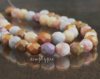 Opaque Luster Mix Lumi, Czech Beads Fire Polished 6mm 25 Faceted Round GLass