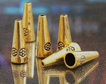 Large Cones, Antiqued Gold Pewter Bead Caps 6