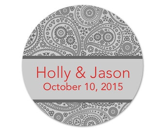 Personalized Wedding Labels - Bridal Shower Stickers - Wedding Stickers - Paisley Labels - Favor Labels - Custom Wedding Stickers