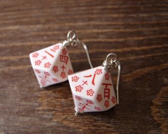 japanese earrings kanji numbers D100 dice earrings japansese dice dungeons and dragons flowers girly geek