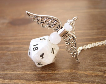 D20 dice pendant angel white pearl dice necklace dice jewelry polyhedral dice wings dungeons and dragons snow white Christmas geek jewelry