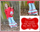 "SIG Creations Birdie Multi-Ruffle Pants/Capris Digital PDF Pattern - Size 6 youth to 14 youth with 18"" doll pattern included!"