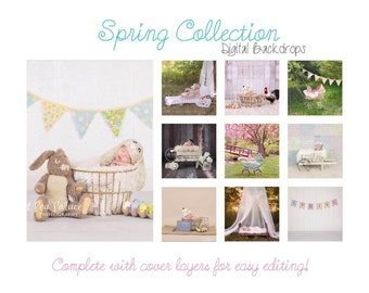 EASTER SPRING COLLECTION of 10- Newborn Baby Photography Prop Digital Backdrop for Photographers