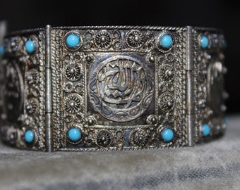 Arabic Panel Bracelet 900 Silver Middle Eastern Turquoise colored glass VINTAGE by Plantdreaming