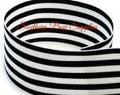 2 1/4 inch Grosgrain Ribbon---3 Yards---Small Stripes---Black White---Hair bow Making Supplies