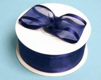 1.5 inch ORGANZA SATIN Trim Ribbon-------3 YARDS-----Navy Blue------Hair bow Making Supplies