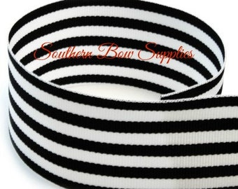 1.5 inch Grosgrain Ribbon-------3 Yards-----Small Stripes-----Black White------Hair bow Making Supplies