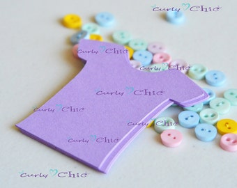 "140 Baby Shirt Tags Size 2"" -Baby Shirt tags -Paper Baby shirt die cuts -Cardstock Baby shower die cuts -Custom Bodysuit labels"