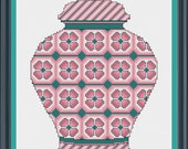 PDF Download - Dusty Rose Floral Ginger Jar - An Original Cross Stitch Design, Chart, Pattern by CrossStitchCards